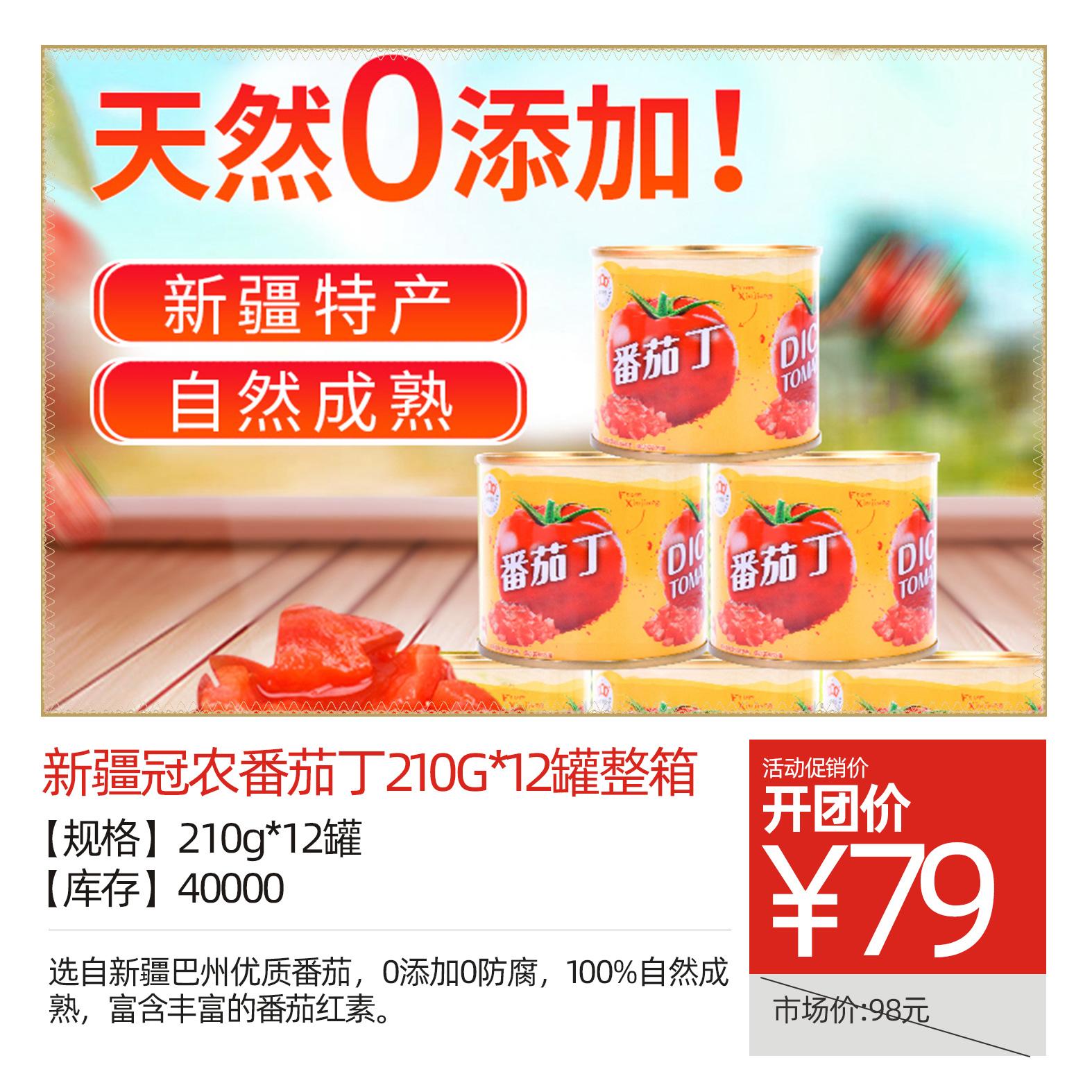 新疆冠农番茄丁210g*12罐整箱