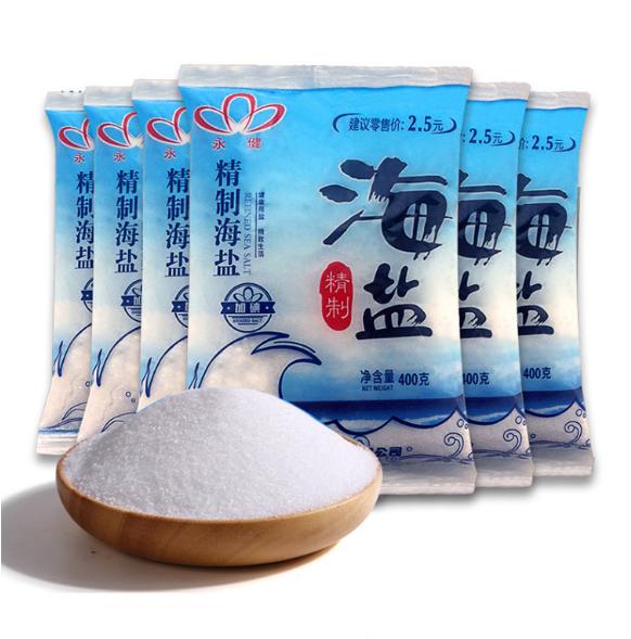 永健精制海盐400克*6袋加碘盐/家用盐巴调味品