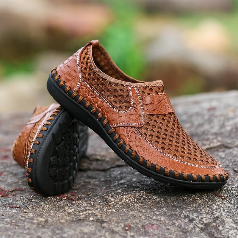 新款!男鞋夏季透气真皮鞋子网面男士休闲鞋网布鞋一脚蹬懒人鞋
