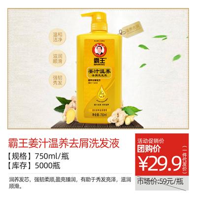 【霸王】姜汁温养去屑洗发液750ml/瓶