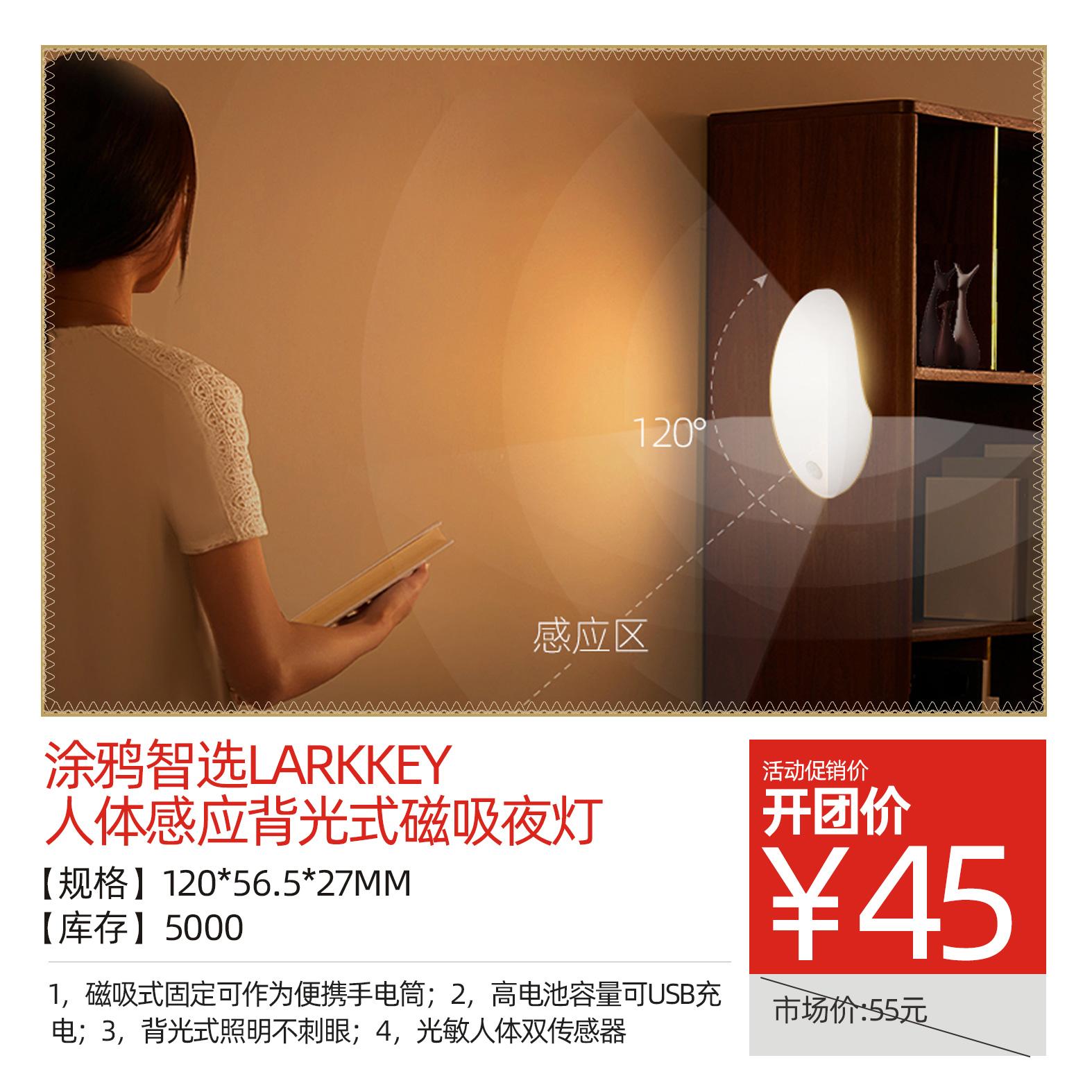 涂鸦智选LARKKEY-人体感应背光式磁吸夜灯